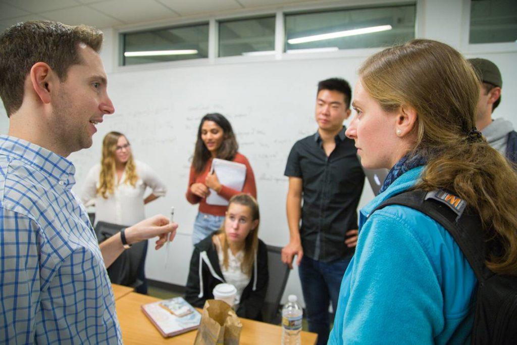 Aaron Dinin and students classroom